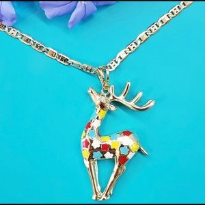 Sika Deer pendant and chain. Gold Plated.
